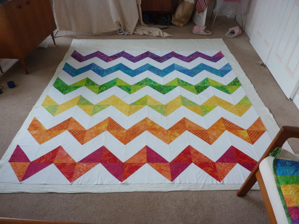 Finished chevron quilt top