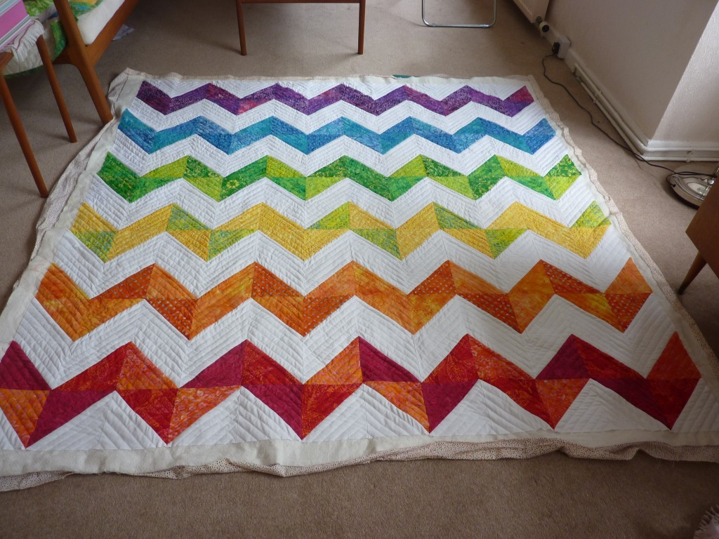 Quilted chevron quilt
