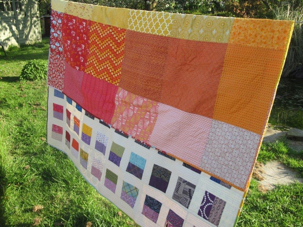 This one shows the top of the backing grid. Some favourite fabrics in this one.